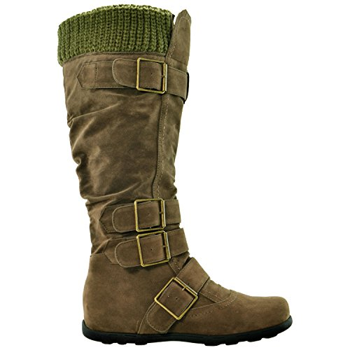 Women's Generation Calf Suede Y Buckles Calf Knee High Ruched GY WB Sole Mid Boots Knitted Rubber 233 Olive 5AXq5wr8n