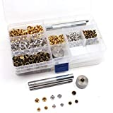 180 Set 2 Sizes 6mm/8mm Leather Rivets Buttons Double Cap Snap Fasteners Press Studs with 3 Fixing Tool Rivets Replacement