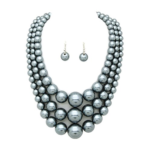 Women's Simulated Faux Three Multi-Strand Pearl Statement Necklace and Earrings Set (Grey Faux Pearl Necklace)
