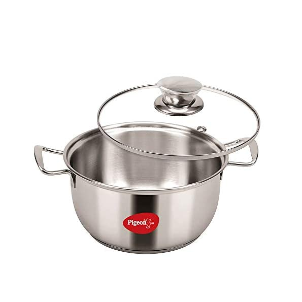 Pigeon-by-Stovekraft-Stainless-Steel-Conical-Casserole-with-Glass-Lid-14-cm-Silver-Standard