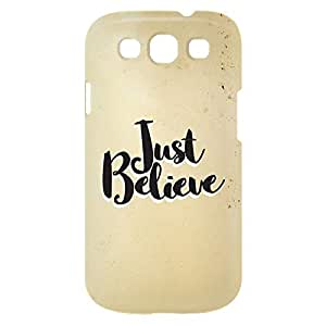 Loud Universe Samsung Galaxy S3 Just Believe Print 3D Wrap Around Case - Beige/Black