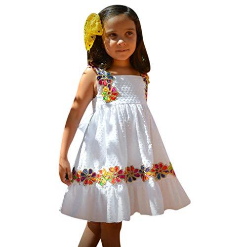 Toddler Girl's Casual Sundress Print Short Sleeve Ruffled Bow Swing Pleated Skirt Kids Party Dress (2-3 Years, White) -