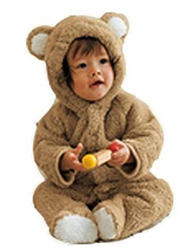 Luckyauction Baby Toddler Winter Cute Bear Fleece Romper Coffee, 90CM/9-12 -