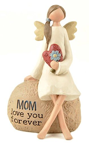 Mom' Angel W/Flower on Rock
