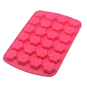Safe And Soft Silicon Ice Cube Tray With Beautiful Flower Pattern, Red