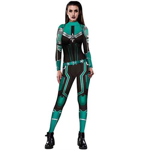 Captain Marvel Halloween Costume Women Superhero 3D Jumpsuit Bodysuit
