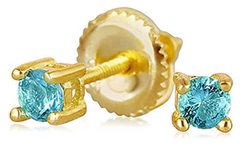 .25CT Aqua Brilliant Cut Solitaire Cubic Zirconia Stud Earrings 14K Gold Plated Silver Screwback Simulated Aquamarine (Baby Earrings Birthstones March)
