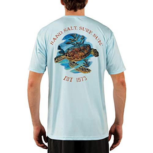 SAND.SALT.SURF.SUN. Sea Turtle Men's UPF 50+ Short Sleeve T-Shirt Large Arctic Blue ()