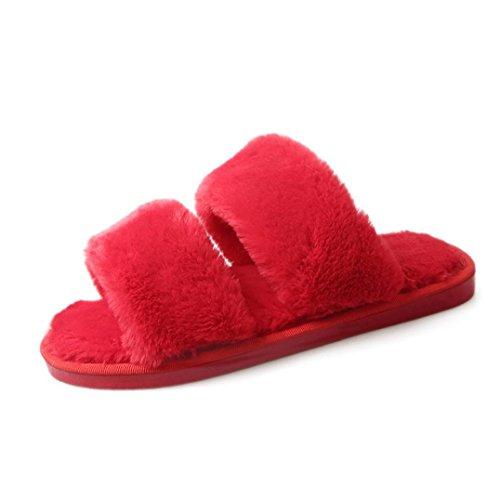 Fourrure Enfiler Loungewear Sandales Plates Chaussons Rouge Femme En Sandales à OverDose w7q0InzI