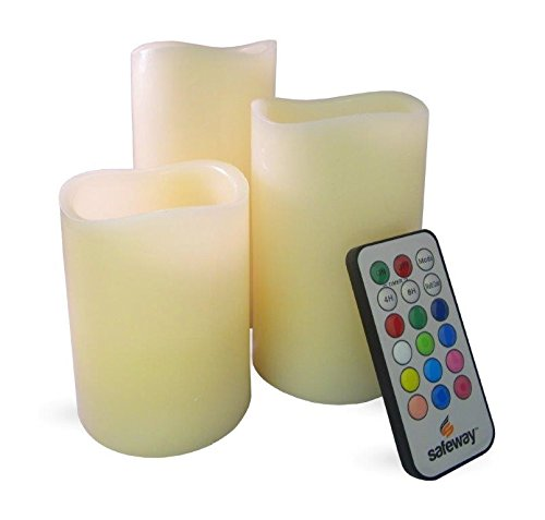 Vanilla Square Pillar (Safeway Candlelites - Set of 3 round LED Candle lights 4