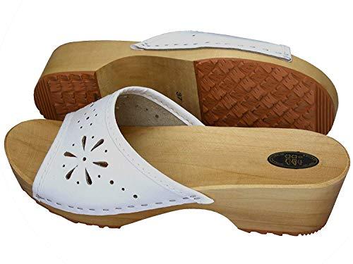 Orthopédiques ouvert Femmes Cuir Hôpital Sabots ESTRO Femme Chaussures Sabots en Mules CDL01 Blanc 4pzpwx7