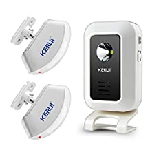 KERUI Wireless Infrared Welcome Doorbell Chime Kit - 1 Receivers, 2 PIR Motion Alert Alarm Detect Security Alarm Greeting Warning Entry for Shop Store