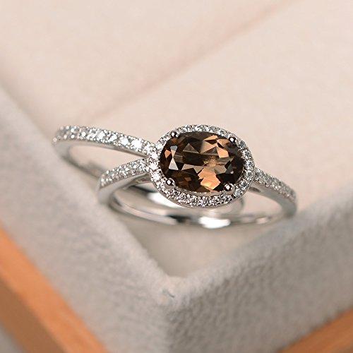 - natural smokey quartz ring sterling silver oval cut handmade jewelry