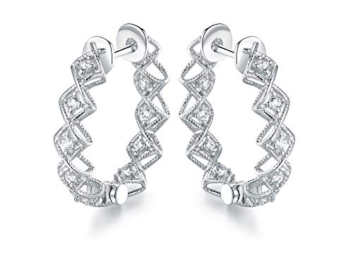 Barzel Gold Plated Crystal Cutout Hoop Earrings Made with Swarovski Elements (Silver)