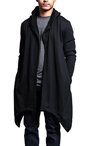 Victorious Long Length Drape Cape Cardigan Hoodie JK701 - Black - Medium - J7A