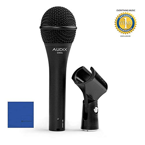 Audix OM6 Song Writer Dynamic Vocal Microphone with Microfiber and 1 Year Everything Music Extended Warranty (Microphone Om6 Audix Vocal Dynamic)