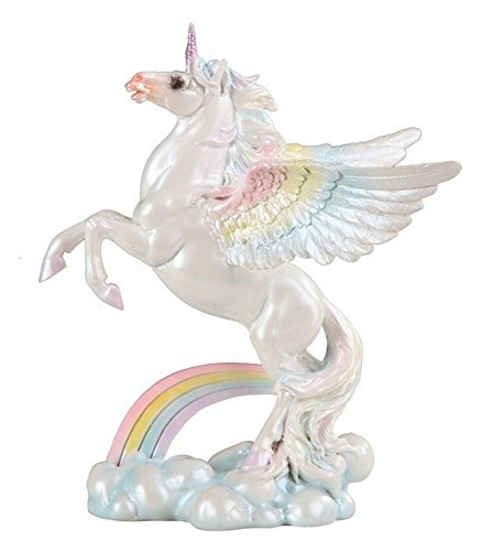 - StealStreet SS-G-91885 Mystical Winged Unicorn Horse with Rainbow Clouds Decorative Figurine