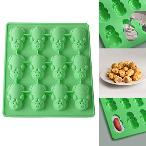 Sttech1 12 Little Pig Silicone Cake Mould, Multifunction Oven-Safe Cake Baking Mould Heat Resistant Up to 500F (Green 1PC) -