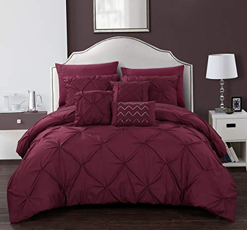 Hemau Premium New Soft Hannah 10 Piece Comforter Complete Bag Pinch Pleated Ruffled Pintuck Bedding with Sheet Set and Decorative Pillows Sha Included, Queen Burgundy | Style 503195845