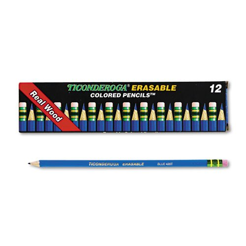 Ticonderoga Erasable Colored Pencils, 2.6 mm, Blue Lead/Barrel, Dozen, Sold as 12 ()