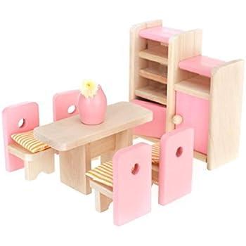 Aisster(TM) Wooden Furniture Dollhouse Miniature Pink Dining Room Set  Children Toy