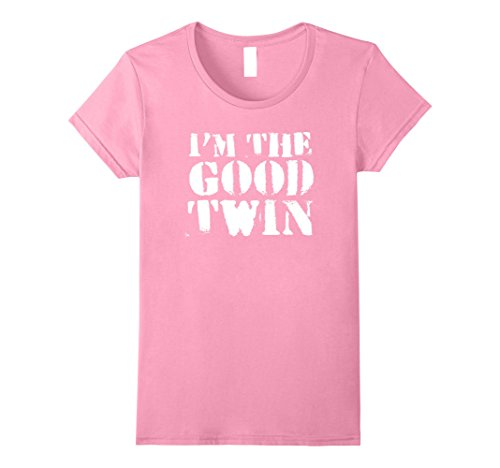 Good Costume Ideas For Twins (Womens Im The Good Twin | Funny Halloween Horror Shirt Large Pink)