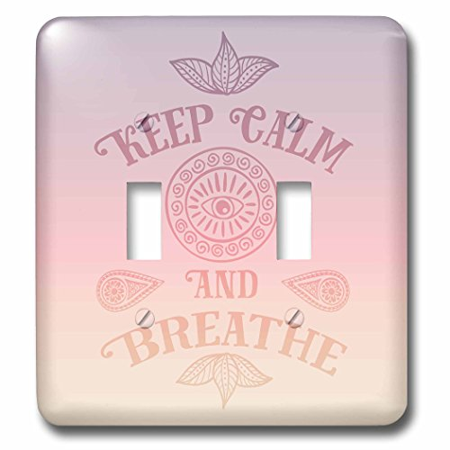 3dRose Andrea Haase Inspirational Typography - Yoga Meditation Typography Keep Calm And Breathe In Pastel Color - Light Switch Covers - double toggle switch (lsp_268348_2) by 3dRose