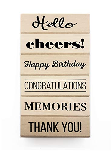 Opia CRAFTS Everyday Sentiment Wood Mounted Rubber Stamp Set for Card Making, Scrapbooking and DIY Crafts - Birthday, Party Invitation, Congratulations, Celebration, Memories, 6 -