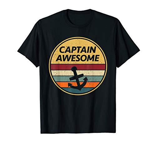 (Retro Anchor Sailboat T-Shirt | Captain Awesome Shirt Gift )