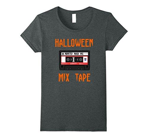 Mix Tape Halloween Costume (Womens Retro Vintage Monster Mix Tape Halloween T-Shirt XL Dark Heather)