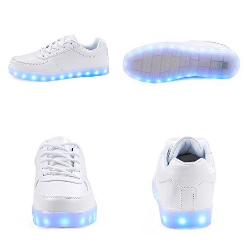 Scarpe Da Uomo Saguaro Ricarica Usb Ricaricabile Led Light-up Scarpe Sportive Lampeggianti Sneakers Bianche