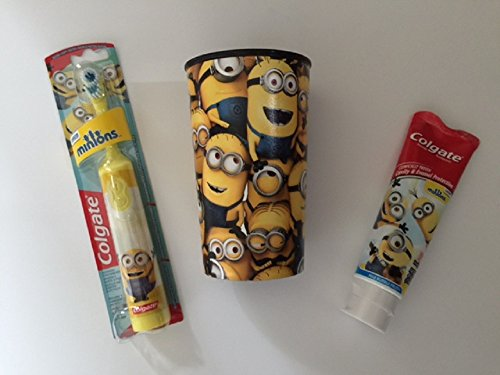 Minions Toothpaste Bundle Kevin Bob Stuart Powered Toothbrush Childrens Cup Dental Brush Kids Colgate Cavity Fighting Flouride (Yellow Bob)