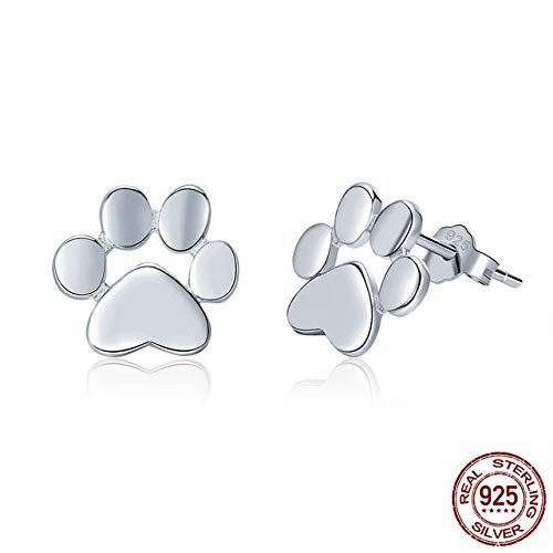 100% 925 Sterling Silver Animal Dog Cat Footprints Gold Color Stud Earrings for Women Fashion Silver 925 Jewelry Rose Gold