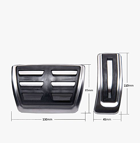 Gas Brake Pedal Covers for Audi A4/A5/A6/A7/Q5 No Drills Aluminum Alloy Rubber Accelerator Brake Pedal Stainless Steel Anti-Slip 2Pcs SLONG