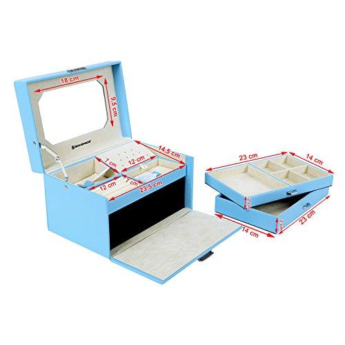 songmics schmuckkasten schmuckkoffer 3 ebenen mit schubladen spiegel himmelblau jbc218. Black Bedroom Furniture Sets. Home Design Ideas