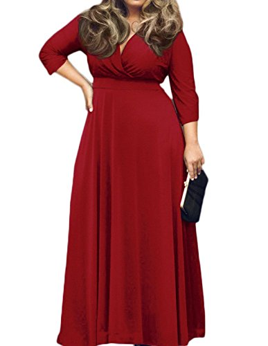 POSESHE Women's Solid V-Neck 3/4 Sleeve Plus Size Evening Party Maxi Dress – Large, Red