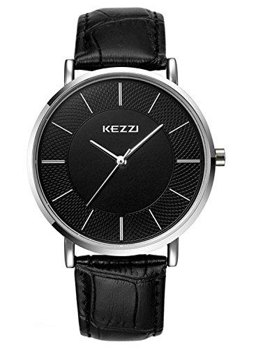 Kezzi Herren Armbanduhr Klassische Analog Quarz Leder Schwarz k738