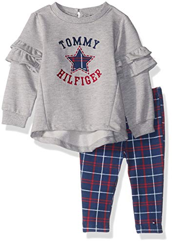 Tommy Hilfiger Baby Girls 2 Pieces Tunic Pants Set, Gray/Plaid, 3-6 Months