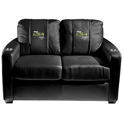 XZipit Armed Forces Silver Loveseat with Army Wife Logo Panel, Black