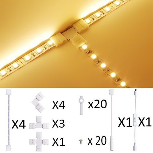 LED Strip Light Connector,10mm SMD5630 and 5050 Single Color,Munting Bracket Kit, Screws, Strip Light Gapless Connector, DC On/off Switch included for 2-Pin LED Strip ()