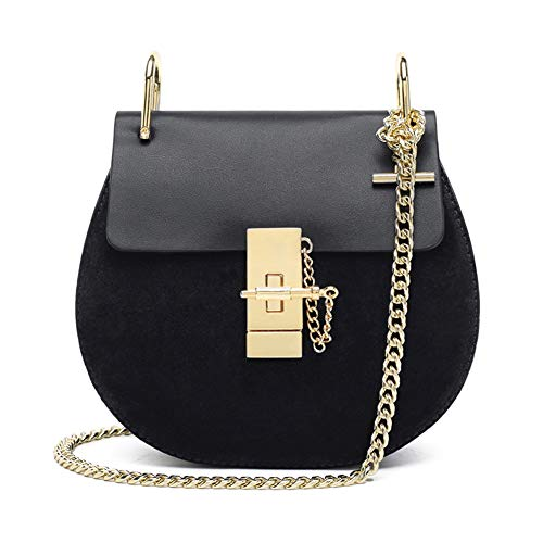 Normia Rita Punk Style U-Ring Flap Bag Chain Bag Crossbody Envelope Bag Clutch Mini Bags For Girls (Black) Cross Body Style Bag