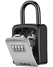 ORIA 4 Digit Combination Lock Box, Key Safe Box with Shackle, Weatherproof Key Storage Lock Box, 5 Keys Capacity, for Indoor Outdoor (Silver)