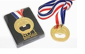 Stylish Novelty Gift Glittering Gilt Plating No.1 Winner Gold Medal Style Beer Bottle Opener