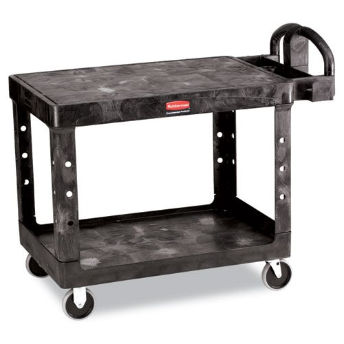 Rubbermaid Flat 2-Shelf Utility Cart, 25-1/4w x 44d x 38-1/8h, Black (452500BK)
