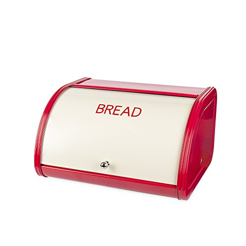 Hot Sales X458 Metal Bread Box/Bin/kitchen Storage Containers with Roll Top Lid (Red+Cream) (Red Bread Holder)