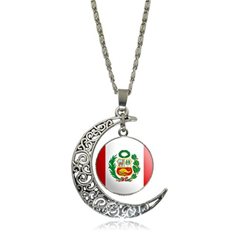 Clearance! Men Women Charm Creative National Flag Hollow Moon Time Gem Pendant Necklace Jewelry (E - Peru, Alloy)