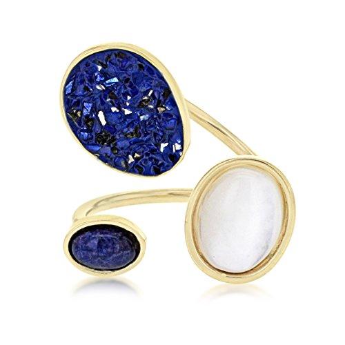 Médecine douce pour femme-Ovale Bleu sodalite Blanc perle Meteor-Bague-Taille I
