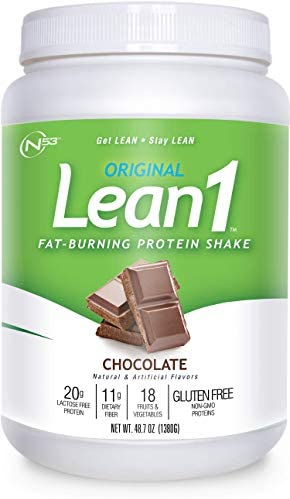LEAN1 Chocolate Protein Powder Meal Replacement Shakes By Nutrition 53, Lactose Gluten Free with Green Coffee Bean Extract, 23 Serving Tub – 48.7 oz