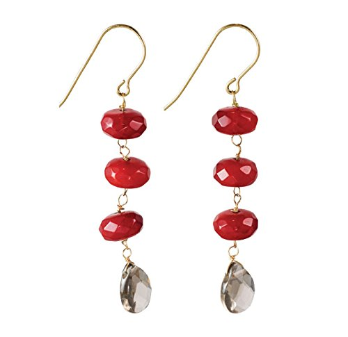 Red Quartz Trio Dangle Earrings With Smokey Quartz Teardrop on 14k Gold Filled French Earwire (Teardrop Earwire)