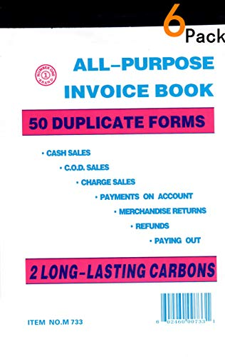 All Purpose Invoice Sales Order Book, Receipt Invoice Duplicate, 5.67 x 8.5 Inches, 2-Part White/Canary, 50 Sets/Book(6) ()